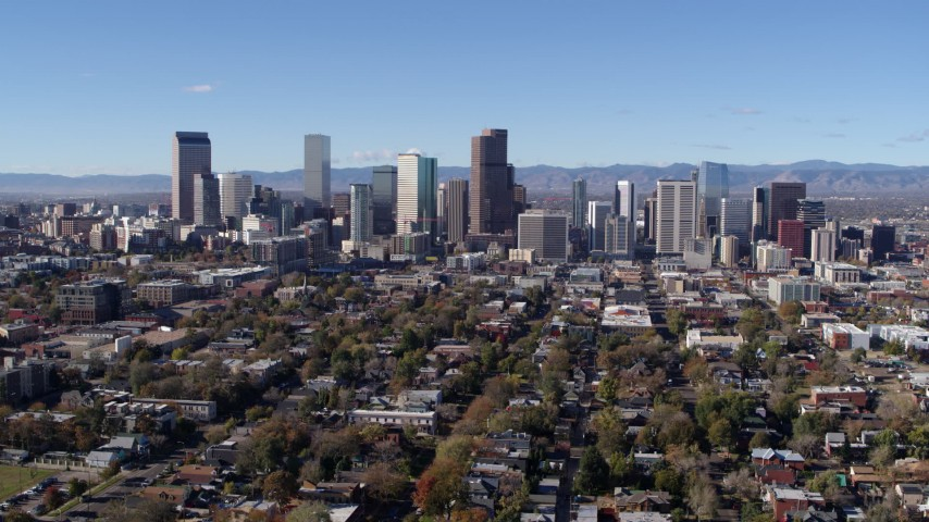 5.7K stock footage aerial video of a view of the skyline of Downtown Denver, Colorado during slow flyby Aerial Stock Footage | DX0001_001467