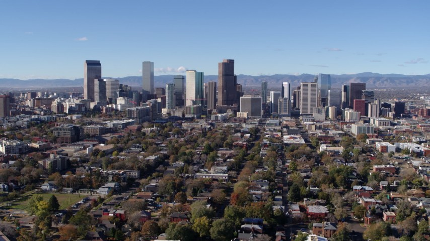 5.7K stock footage aerial video of a reverse view of the skyline of Downtown Denver, Colorado Aerial Stock Footage | DX0001_001468