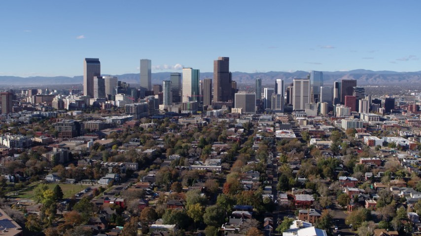 5.7K stock footage aerial video of slowly flying toward the skyline of Downtown Denver, Colorado Aerial Stock Footage | DX0001_001469