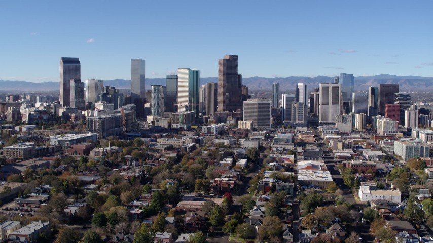 5.7K stock footage aerial video of approaching the skyline of Downtown Denver, Colorado Aerial Stock Footage | DX0001_001470