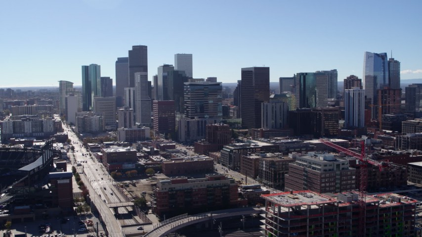 5.7K stock footage aerial video of a stationary view of skyline in Downtown Denver, Colorado Aerial Stock Footage | DX0001_001473