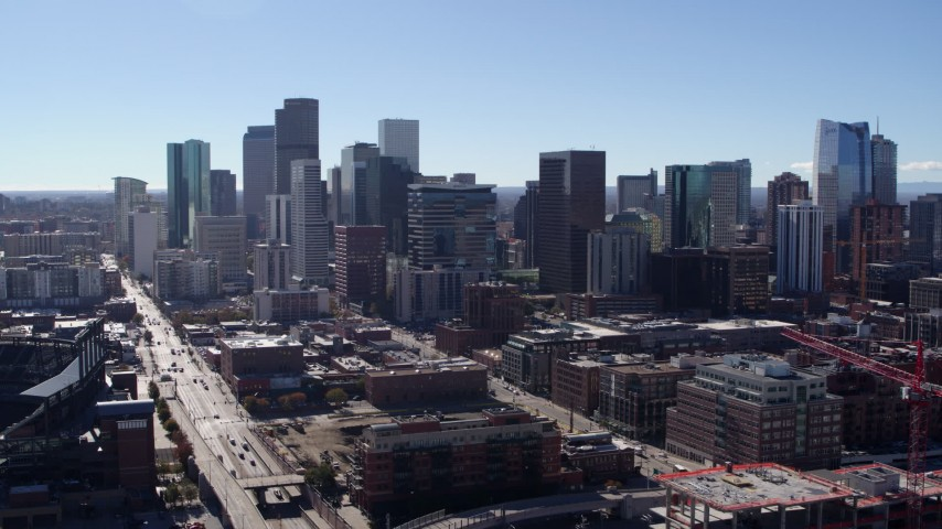 5.7K stock footage aerial video of a slow approach and stationary view of skyline in Downtown Denver, Colorado Aerial Stock Footage | DX0001_001474
