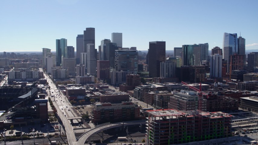 5.7K stock footage aerial video of a slow approach to skyline in Downtown Denver, Colorado Aerial Stock Footage | DX0001_001476