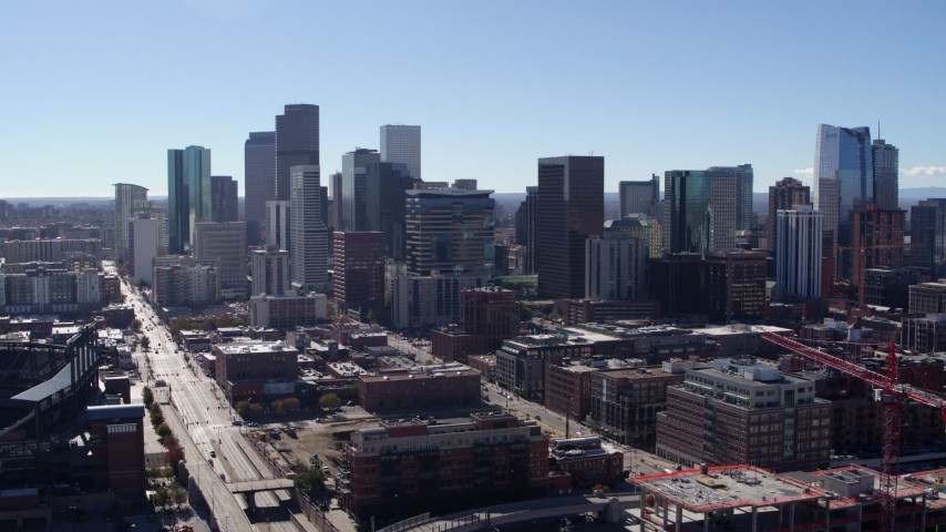 5.7K stock footage aerial video of a stationary view of skyline in Downtown Denver, Colorado Aerial Stock Footage | DX0001_001477
