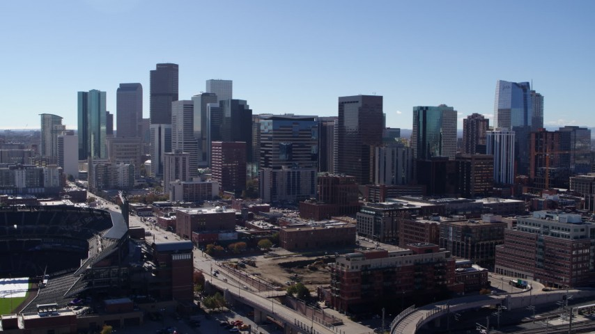 5.7K stock footage aerial video of a stationary view and flyby of skyline in Downtown Denver, Colorado Aerial Stock Footage | DX0001_001478