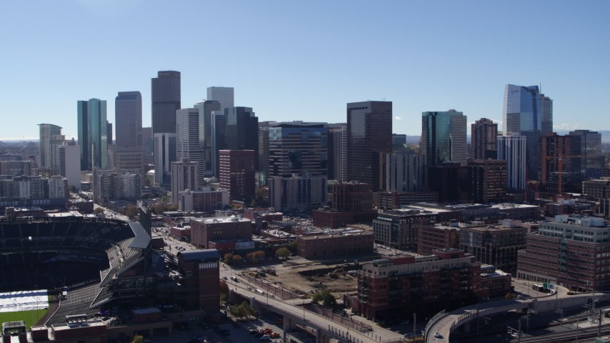 5.7K stock footage aerial video flyby of skyscrapers in Downtown Denver, Colorado skyline Aerial Stock Footage | DX0001_001479