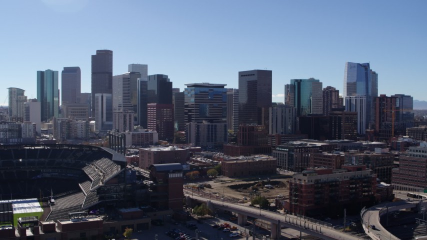 5.7K stock footage aerial video of skyline seen from near Coors Field in Downtown Denver, Colorado Aerial Stock Footage | DX0001_001481