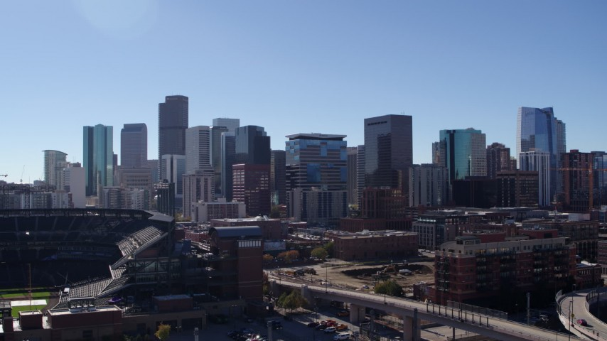 5.7K stock footage aerial video of a stationary view of the city skyline in Downtown Denver, Colorado Aerial Stock Footage | DX0001_001490