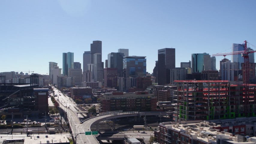 5.7K stock footage aerial video of a view of the city skyline in Downtown Denver, Colorado Aerial Stock Footage | DX0001_001492