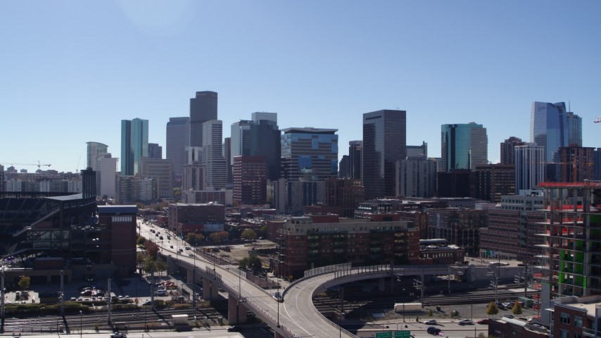 5.7K stock footage aerial video of the city's skyline seen during slow descent in Downtown Denver, Colorado Aerial Stock Footage | DX0001_001495