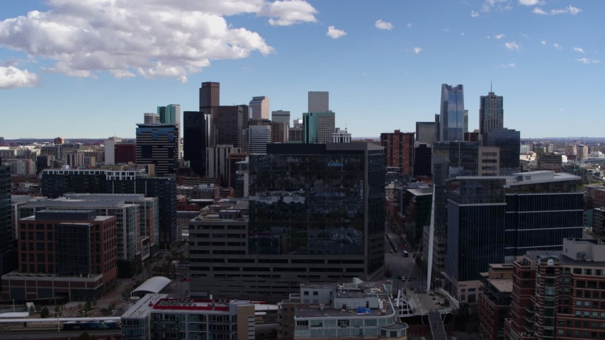 5.7K stock footage aerial video of office buildings and the city's skyline in Downtown Denver, Colorado Aerial Stock Footage   DX0001_001498