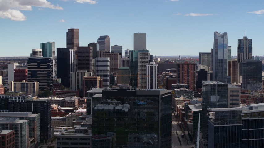 5.7K stock footage aerial video of the city's skyline in Downtown Denver, Colorado Aerial Stock Footage DX0001_001504