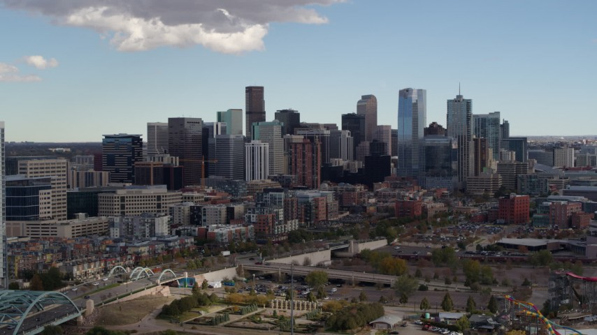 5.7K stock footage aerial video flyby residential skyscraper for view of skyline in Downtown Denver, Colorado Aerial Stock Footage | DX0001_001516