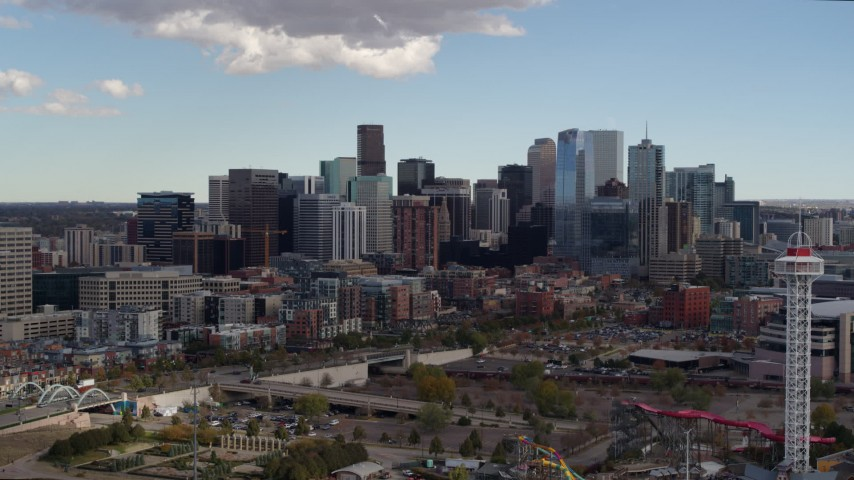 5.7K stock footage aerial video of a view of skyline while making a slow descent in Downtown Denver, Colorado Aerial Stock Footage DX0001_001517 | Axiom Images