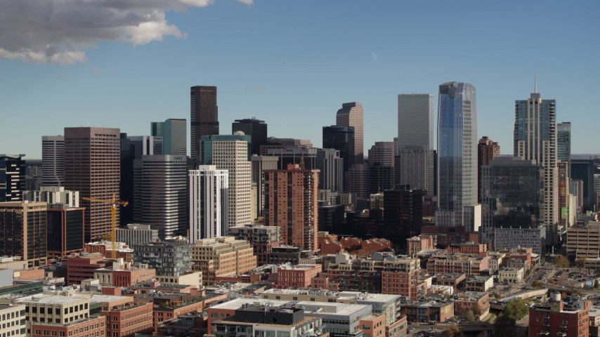 5.7K stock footage aerial video of a slow pass by the city skyline in Downtown Denver, Colorado Aerial Stock Footage DX0001_001519 | Axiom Images