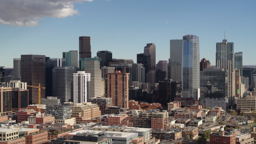 5.7K stock footage aerial video of a slow flyby of the city skyline in Downtown Denver, Colorado Aerial Stock Footage | DX0001_001520