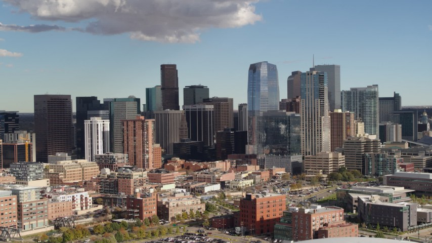 5.7K stock footage aerial video of slowly passing the city skyline in Downtown Denver, Colorado Aerial Stock Footage | DX0001_001521