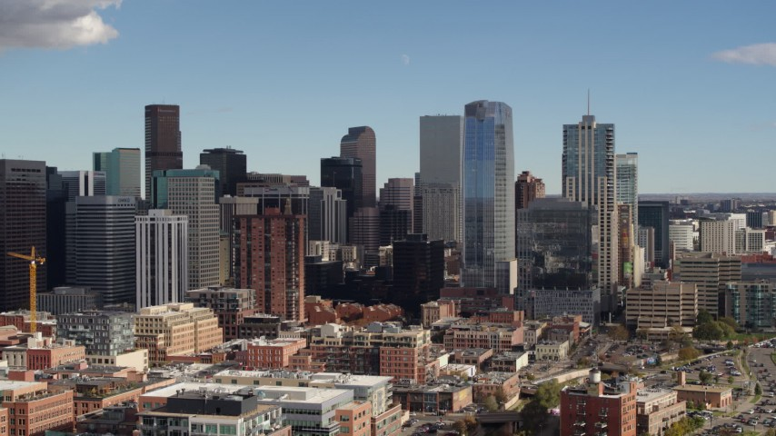 5.7K stock footage aerial video of towering skyscrapers of the city skyline in Downtown Denver, Colorado Aerial Stock Footage | DX0001_001523