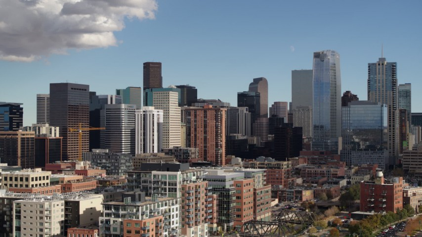 5.7K stock footage aerial video of towering skyscrapers of the city skyline in Downtown Denver, Colorado Aerial Stock Footage | DX0001_001528