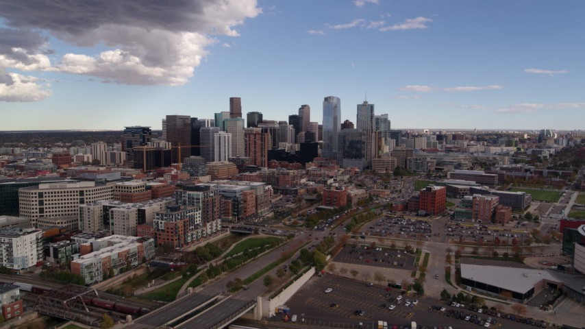 5.7K stock footage aerial video flyby the city skyline seen from north of the city, Downtown Denver, Colorado Aerial Stock Footage | DX0001_001533