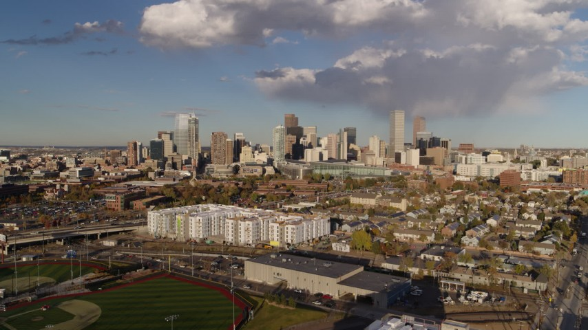 5.7K stock footage aerial video of a stationary view of the city skyline, Downtown Denver, Colorado Aerial Stock Footage | DX0001_001546