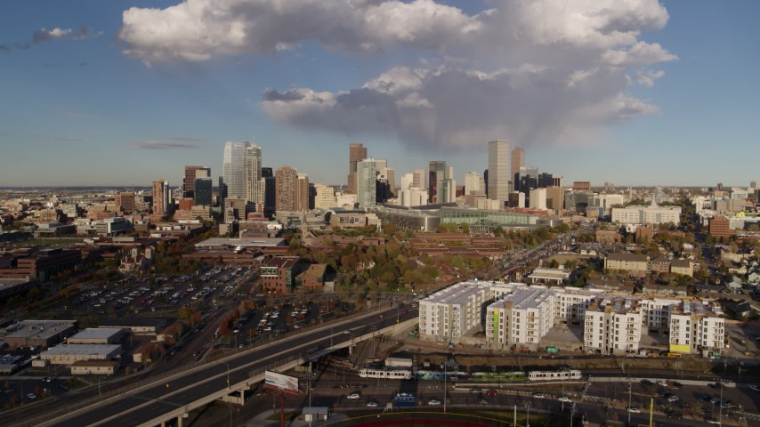 5.7K stock footage aerial video of approaching W Colfax Avenue and the city skyline, Downtown Denver, Colorado Aerial Stock Footage | DX0001_001548