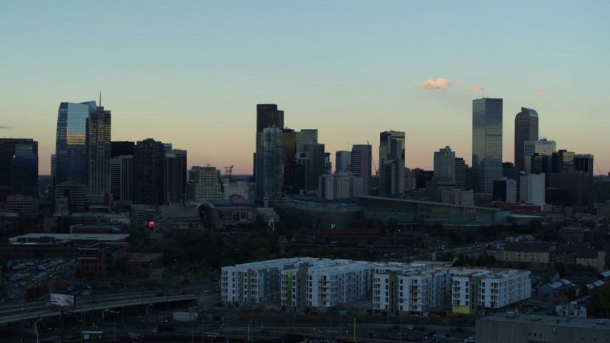5.7K stock footage aerial video of a slow pass of the city's skyline at sunset, Downtown Denver, Colorado Aerial Stock Footage | DX0001_001566