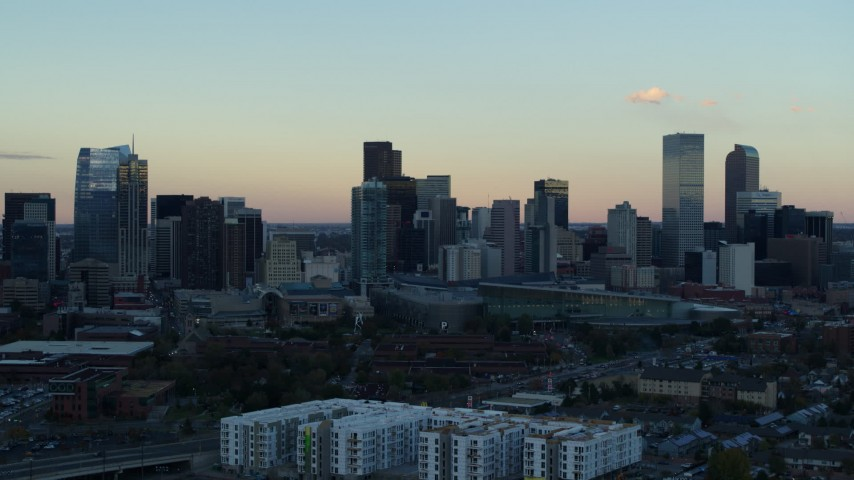 5.7K stock footage aerial video of a slow approach to the city's skyline at sunset, Downtown Denver, Colorado Aerial Stock Footage | DX0001_001569