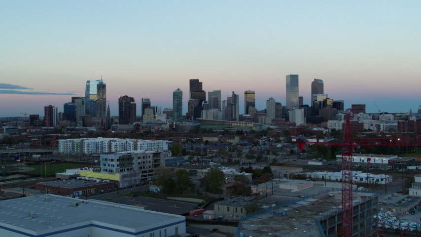 5.7K stock footage aerial video of flyby the city's downtown skyline at sunset, Downtown Denver, Colorado Aerial Stock Footage | DX0001_001574