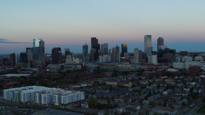 5.7K stock footage aerial video of a slow pass of the city's downtown skyline at sunset, Downtown Denver, Colorado Aerial Stock Footage | DX0001_001578
