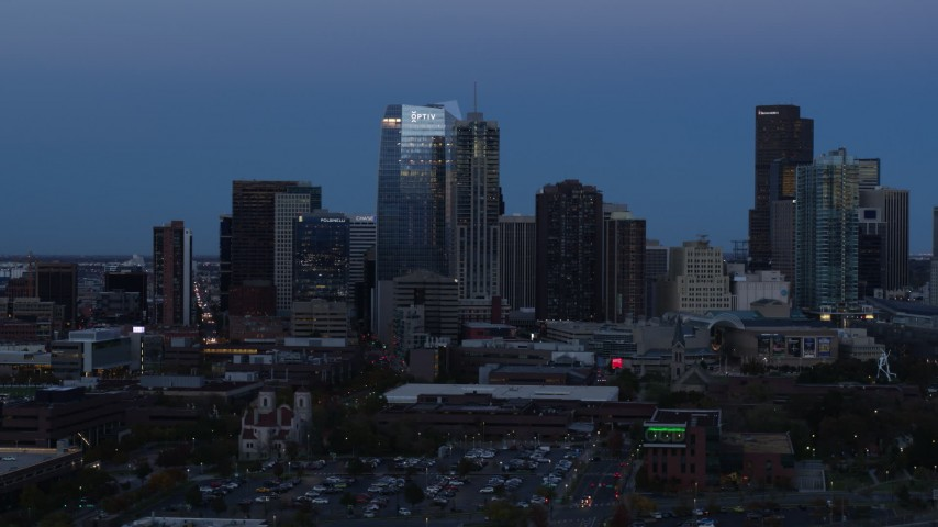 5.7K stock footage aerial video of skyscrapers and hotel high-rise at twilight, Downtown Denver, Colorado Aerial Stock Footage | DX0001_001586