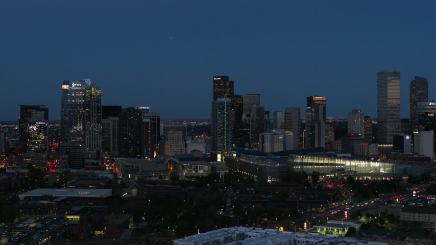 5.7K stock footage aerial video flyby the city's skyscrapers and convention center at twilight, Downtown Denver, Colorado Aerial Stock Footage | DX0001_001596