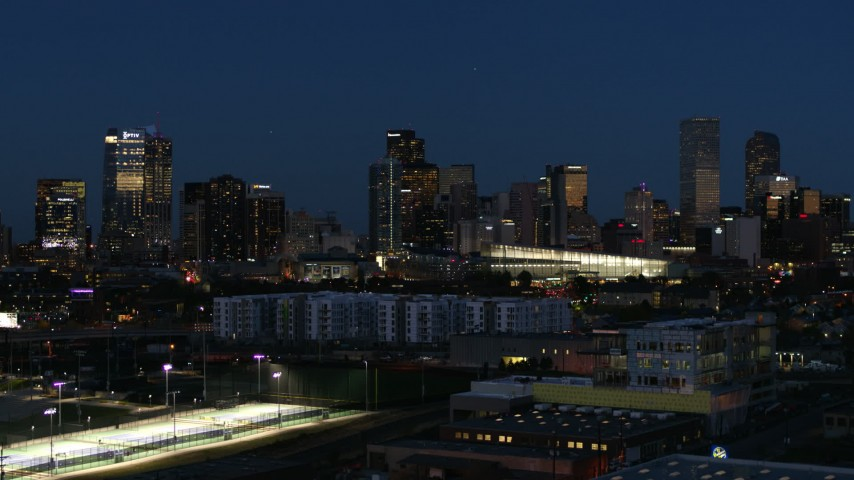 5.7K stock footage aerial video of the city skyline and convention center at twilight, Downtown Denver, Colorado Aerial Stock Footage | DX0001_001606