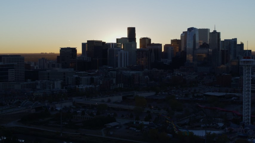 5.7K stock footage aerial video of the city skyline at sunrise, Downtown Denver, Colorado Aerial Stock Footage | DX0001_001611