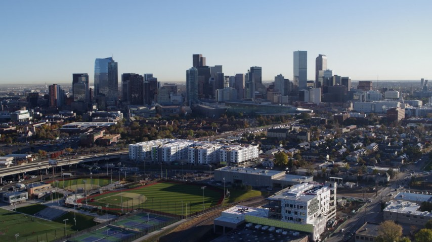5.7K stock footage aerial video of a view of the city skyline at sunrise in Downtown Denver, Colorado Aerial Stock Footage | DX0001_001640