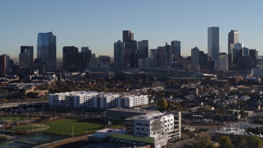 5.7K stock footage aerial video approach and flyby the city's skyline at sunrise in Downtown Denver, Colorado Aerial Stock Footage | DX0001_001656