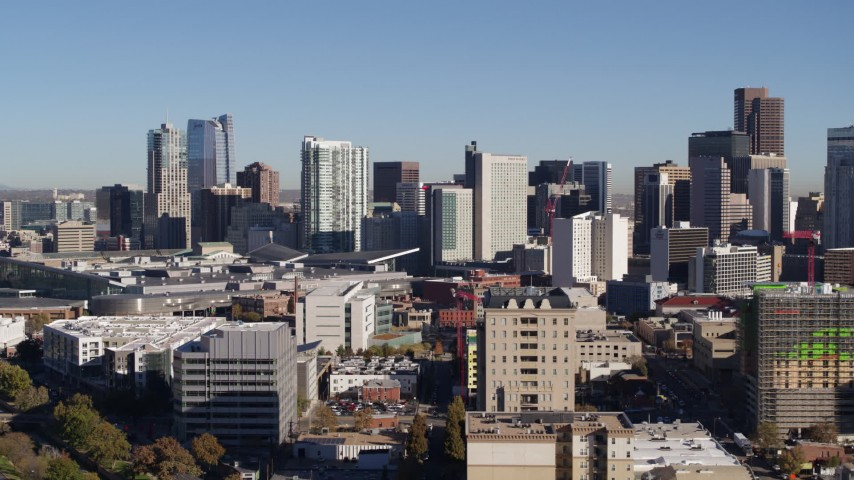 5.7K stock footage aerial video of the city's skyline seen from office buildings in Downtown Denver, Colorado Aerial Stock Footage | DX0001_001660