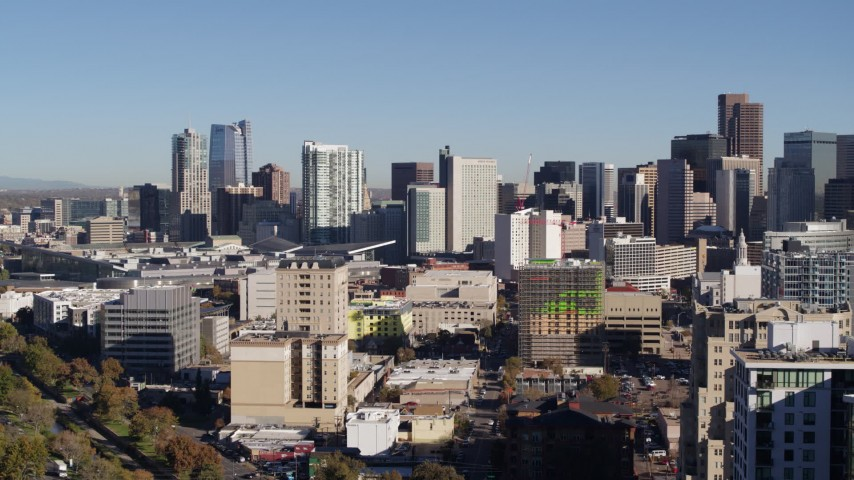5.7K stock footage aerial video of the city skyline, seen from office buildings in Downtown Denver, Colorado Aerial Stock Footage   DX0001_001664