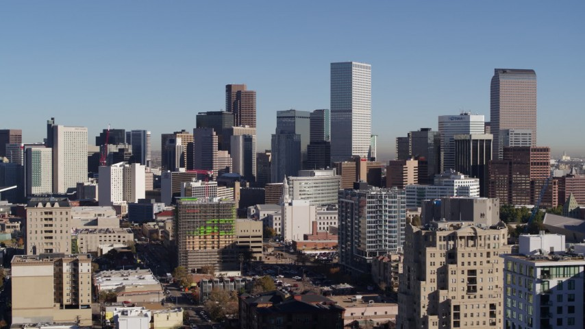 5.7K stock footage aerial video of the city's skyline, seen from office buildings in Downtown Denver, Colorado Aerial Stock Footage | DX0001_001665