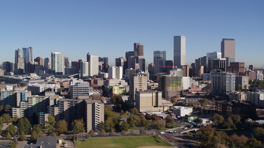 5.7K stock footage aerial video of the city's skyline, seen while ascending, Downtown Denver, Colorado Aerial Stock Footage DX0001_001671