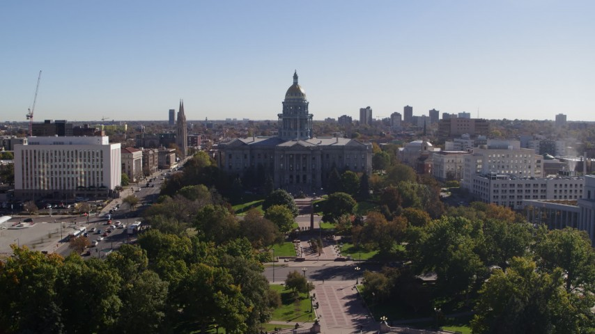 5.7K stock footage aerial video of approaching the Colorado State Capitol building in Downtown Denver, Colorado Aerial Stock Footage | DX0001_001678