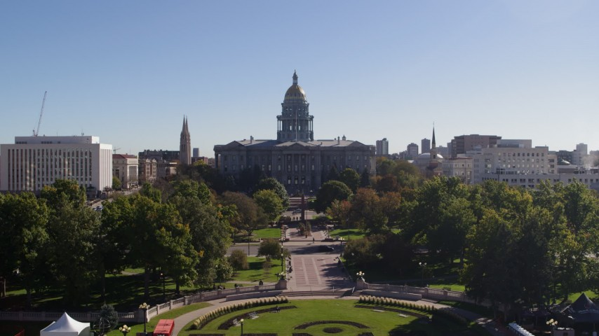 5.7K stock footage aerial video approach the Colorado State Capitol while ascending, Downtown Denver, Colorado Aerial Stock Footage | DX0001_001680