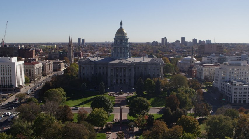 5.7K stock footage aerial video fly away from the Colorado State Capitol, Downtown Denver, Colorado Aerial Stock Footage | DX0001_001682