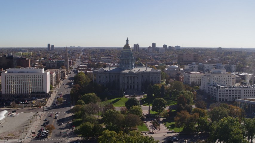5.7K stock footage aerial video of flying by the Colorado State Capitol, Downtown Denver, Colorado Aerial Stock Footage | DX0001_001685
