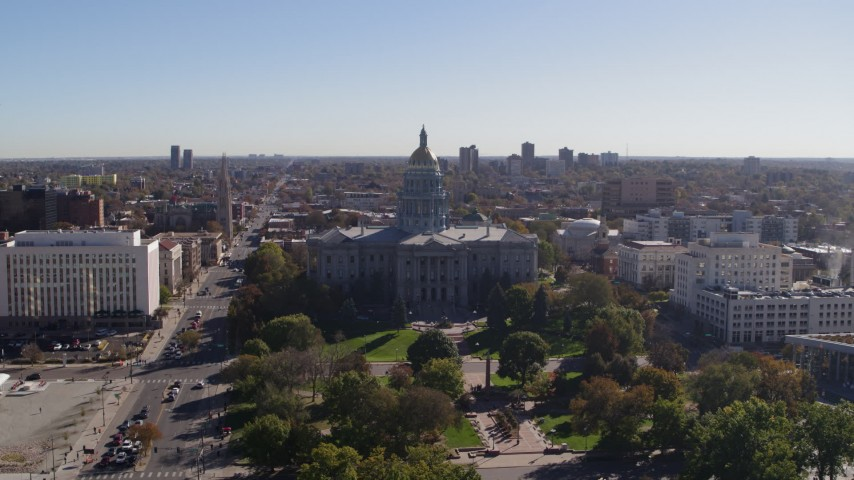5.7K stock footage aerial video of passing by the Colorado State Capitol, Downtown Denver, Colorado Aerial Stock Footage | DX0001_001686