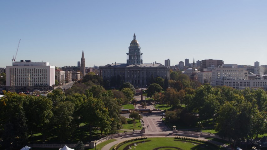5.7K stock footage aerial video flyby the Colorado State Capitol, Downtown Denver, Colorado Aerial Stock Footage | DX0001_001687