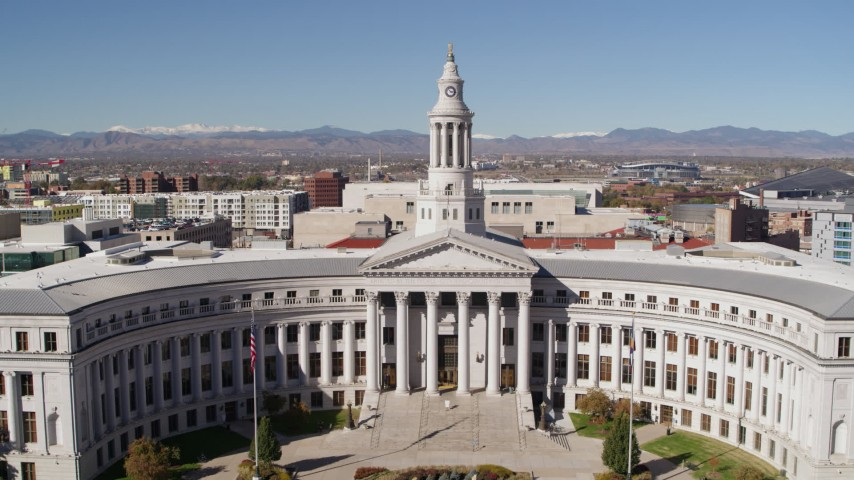 5.7K stock footage aerial video flyby and away from the Denver City Council building, Downtown Denver, Colorado Aerial Stock Footage | DX0001_001698