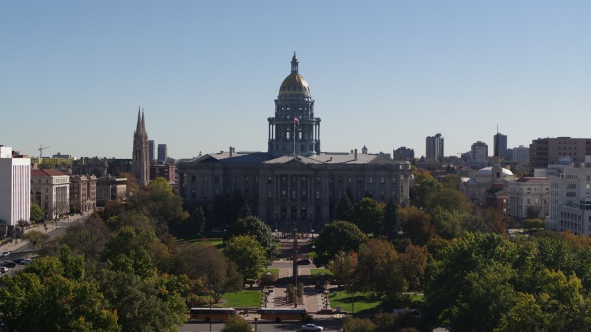 5.7K stock footage aerial video a stationary view of Colorado State Capitol, Downtown Denver, Colorado Aerial Stock Footage | DX0001_001702