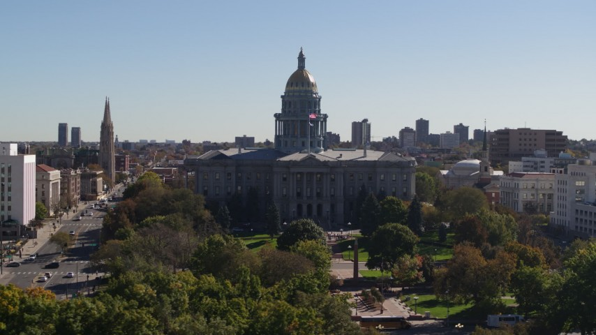 5.7K stock footage aerial video of flying by the Colorado State Capitol, Downtown Denver, Colorado Aerial Stock Footage | DX0001_001703