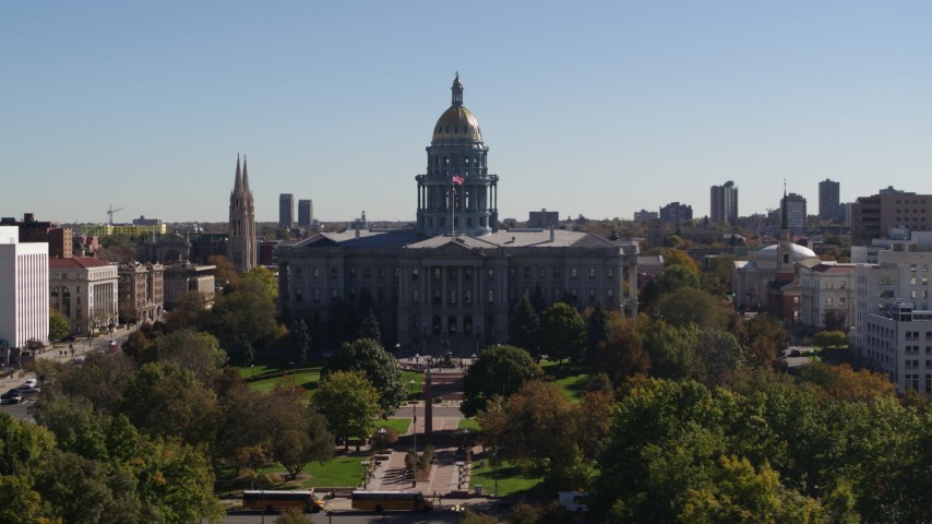 5.7K stock footage aerial video of passing by the Colorado State Capitol, Downtown Denver, Colorado Aerial Stock Footage | DX0001_001704